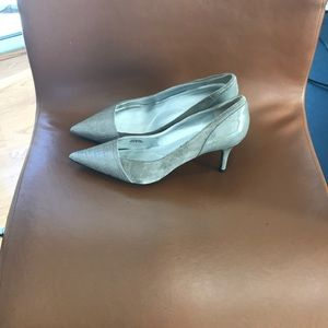 Grey suede and patent leather 2 inch heels